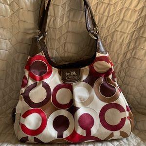 EUC Coach purse. Brown/Burgundy/Cream.